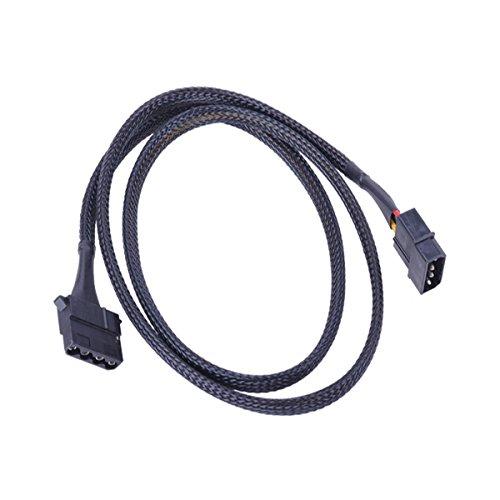 Phobya 4Pin Molex Stromverlängerung 90cm - Schwarz Kabel Lüfterkabel und Adapter