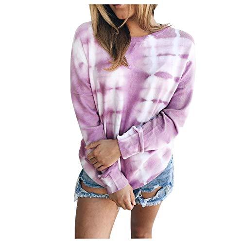 SRXH otoño Mujer Sudadera con teñido Anudado Chica Manga Larga señoras Moda Jerseys Invierno Casual Tops Sueltos Streetwear Sudadera