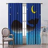 Blue Whale - Cortinas opacas para dormitorio, diseño de ballena en el océano en la noche, color azul oscuro