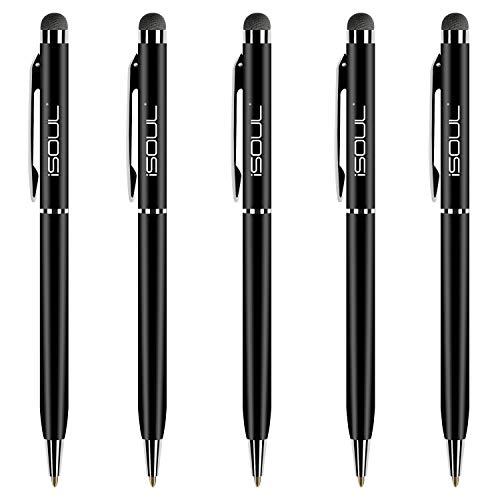Stylus Pen, 5 Stücke Eingabestift Touchstift Stylus Kompatibel mit iOS Android Geräten, Stylus für iPhone iPad Galaxy Huawei OnePlus Smartphones Tablet Kapazitiver Kugelschreiber (Schwarz)