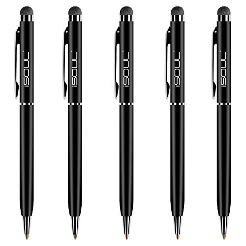 ISOUL Stylus Pen Stylus Touch Pen [5 Pack] Stylus Pens for Touch Screens iPad, iPad 10.2 inch 2020 (8th Gen), iPhone, Samsung Galaxy, OnePlus, Google Pixel, Tablets & More Black Metal Ballpen Stylus