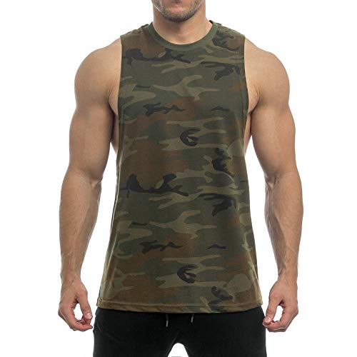 Sixlab Essentials Cut Off Tank Top Herren Muskelshirt Gym Fitness (XXL, Khaki Camo)