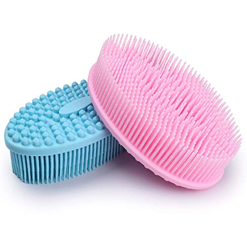 Silicone Loofah Body Scrubber, Exfoliating Silicone Bath Shower Scrubber, Kids Adult Bath Body Brush to Improve Your Blood Circulation for Gentle Exfoliating on Softer Skin, Gentle Massage,Pink & Blue