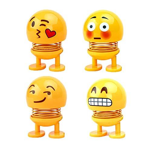 Yeldou niedliches Emoji-Auto-Federschüttelkopf Expression Pack Schüttelkopf lustiger Ausdruck Puppen-Auto Swing Schmuck Smiley Gesicht Feder Shake Head (4 Stück)
