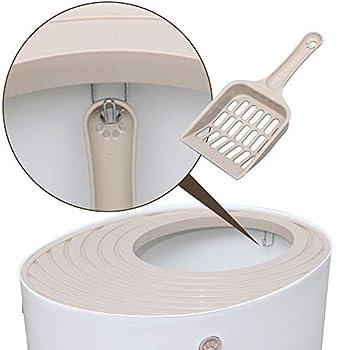 Iris Ohyama, Maison de toilette pour chat avec couvercle à rainures, entrée par le haut et pelle - Top Entry Cat Litter Box - PUNT-530, plastique, blanc, 53 x 41 x 37 cm