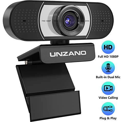 Unzano HD Webcam 1080p with Microphone, Computer Web Camera USB Mac Laptop or Desktop Web Cam for Streaming, Video Calling and Recording, 360 Degree Rotatable