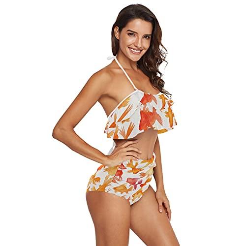 Yuelai Damen Bikini Badeanzug mit hoher Taille Rüschen Kittel Blumendruck Zweiteiliger Badeanzug, Orange Red Goldfish Japanisch