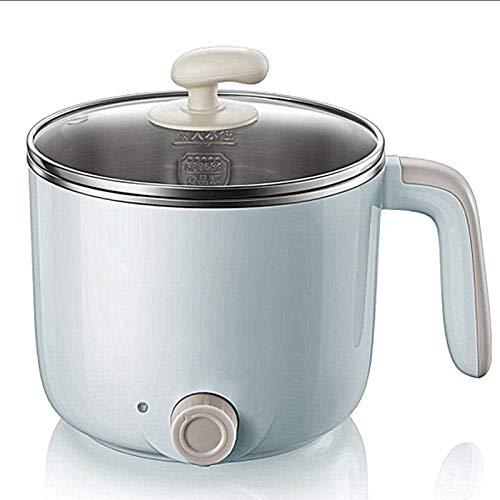 CHQY Pot à Chaud électrique, cuisinière à Nouilles Rapides en Acier Inoxydable, Mini Pot de 1,2 Litre, Parfait pour Ramen/Oeuf/boulette/Soupe, avec contrôle de la t blue-1-layer