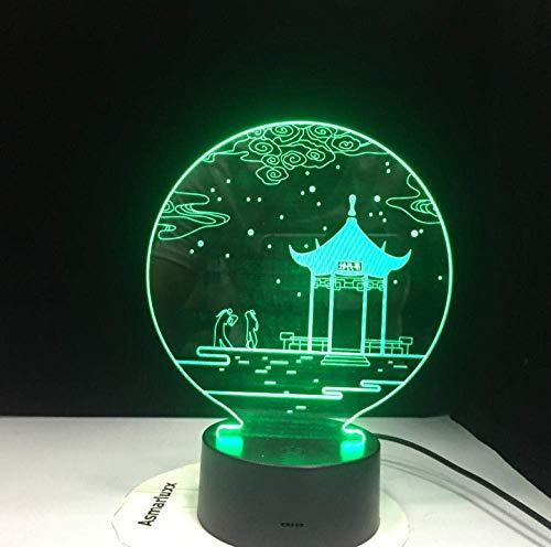 Ster antieke paviljoen 3D vorm LED tafel kleine nachtlamp