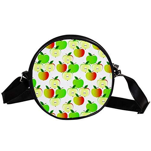 Bennigiry Deyya Damen-Handtasche mit Äpfel-Motiv, rund, Schultertasche