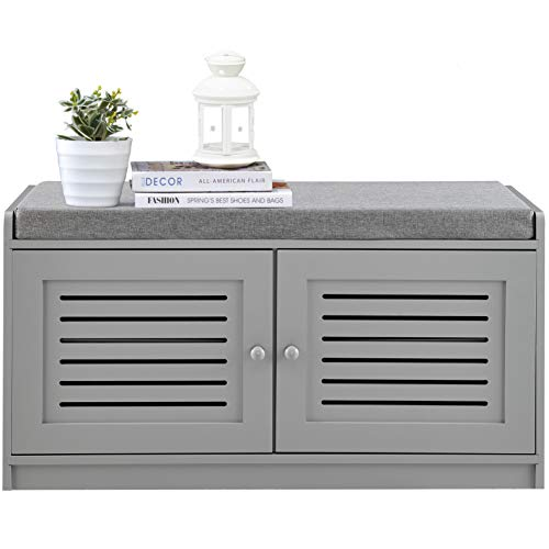 Sturdis Shoe Storage Bench Gray - Cushion Seat - Adjustable Shelves - Soft-Close Hinges - for Comfort Style Perfect for Entryway First Impression