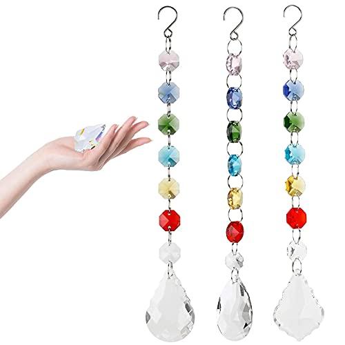 3 Piezas Cristales Sol Colectores Colgante de Decoración de Cristales Atrapasoles de Cristal Bola de Prisma de Cristal Transparente Adecuado para Decoración de Jardín, Hogar, Oficina y Cortinas