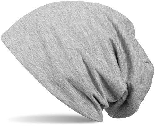 styleBREAKER Klassische Slouch Beanie Mütze, leicht und weich, Longbeanie, Unisex 04024018, Farbe:Grau meliert