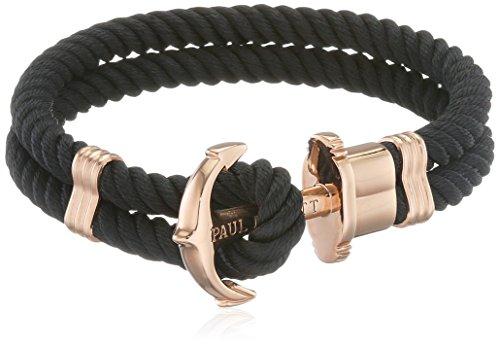 PAUL HEWITT Anker Armband Damen PHREP - Segeltau Armband Frauen (Schwarz), Armband Damen mit Anker Schmuck aus IP-Edelstahl (Rosegold)