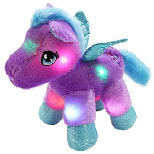 WEWILL LED Pegasus Stuffed Animal Glow Unicorn Soft Toys, Nightlight Companion Gifts, 11'', Purple