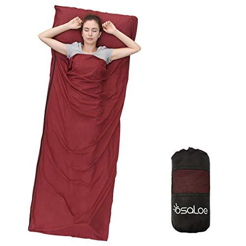 Osaloe Saco de Dormir para Acampar, Senderismo, Viajar y Al Aire Libre, Saco de Dormir Ultraligero con Cremallera y Bolsa de Compresión, 380 Gramos, 220 x 90 cm (Vino Tinto)