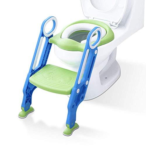 ADOVEL Töpfchentrainer Kinder-Töpfchen Toilettensitz Trainer Sitz für Kinder Toiletten Training mit Leiter/Treppe, Rutschfest stabil klappbar und höhenverstellbar für 1-7 jährige Kids Minzgrün