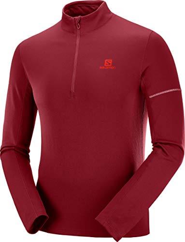 Salomon, Sweatshirt de Sport pour Homme, AGILE HZ MID, Mélange synthétique, Rouge (Biking Red/Fiery Red), Taille : XXL, LC1049800