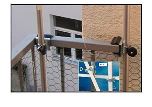 NEW - Holly roestvrij stalen universele houder Duo - zonder stokken - zonder net - kattennet balkonhouder bevestiging voor stokken tot Ø 38 mm - MET - 2 - rubberen doppen (3,50 euro) -