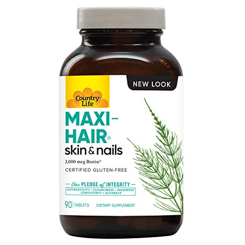 Country Life Maxi Hair - 90 Time Release Tablet - Increased Hair Strength and Encourages New Hair Growth - Less Breakage