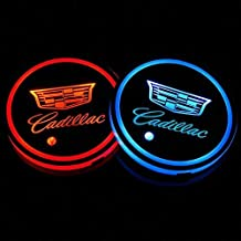 JDclubs 2PCS LED Cup Holder Mat Pad Coaster with USB Rechargeable Interior Decoration Light (fit Cadillac)