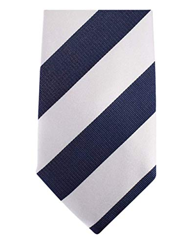 David Van Hagen Blanc/Marine rayé cravate de