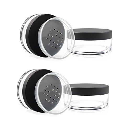 Da.Wa - Tarros vacíos de plástico para base de maquillaje de 30 g, con tamiz y polvo, 5 unidades, plástico, Transparente, 57*28MM