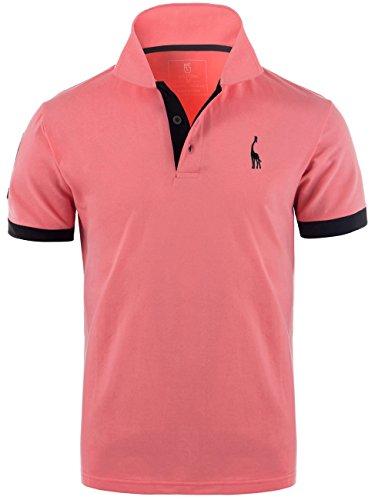 GLESTORE Herren Poloshirt Einfarbig Basic Kurzarm Polohemd T1-Rosa L
