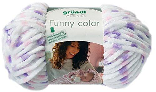 Gründl Funny Color 100 Gramm Softgarn kuschelliges Garn aus 100% Polyester (01 Weiss Rosa Flieder)