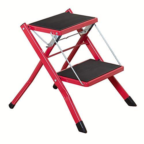 Haushaltsleiter verdicken Zweistufenleiter Klappleiter Pedal Leiter Dachboden Treppe Hocker Stuhl Ascend Ladder Climbing Ladder Stabilität und Sicherheit (Color : Red)