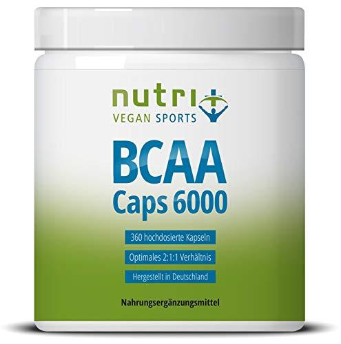 BCAA-Capsules 2:1:1-360 Caps à 750 mg - hoge dosering & veganistisch - essentiële aminozuren - Nutri-Plus BCAA's zonder magnesiumstearaat - veganistische aminozuren