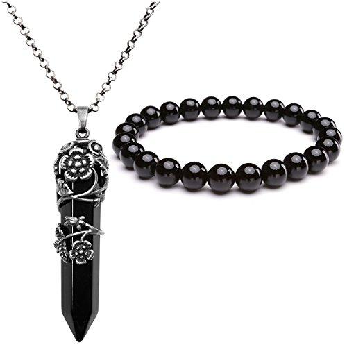 Parure di ciondolo e bracciale in ametista e quarzo rosa, da JSDDE. Con fiore in argento avvolto sulla gemma, colore: Black Agate, cod. JSDUK63992