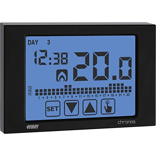 vemer Termostato Reloj ve454500Chronos 230Negro Fácil pantalla táctil de distancia, pantalla en breitem hintergrundbeleuchtetem pantalla Red Conector
