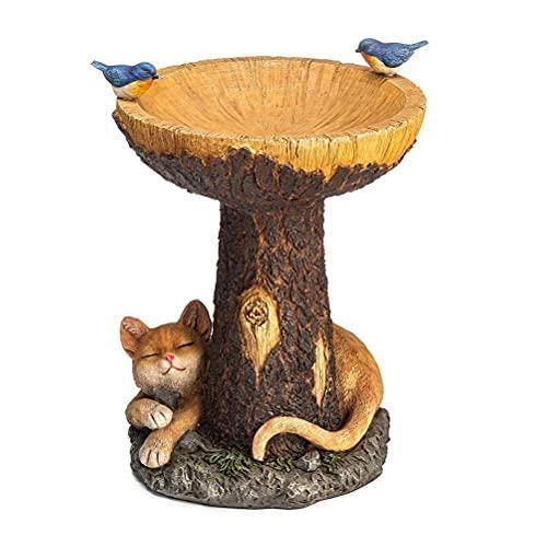 Chiyyak Bebedero para pájaros, baño para pájaros, decoración de jardín, casita para pájaros con dibujos animados de gato y pájaros, estatua de jardín, comedero para pájaros, decoración para balcón