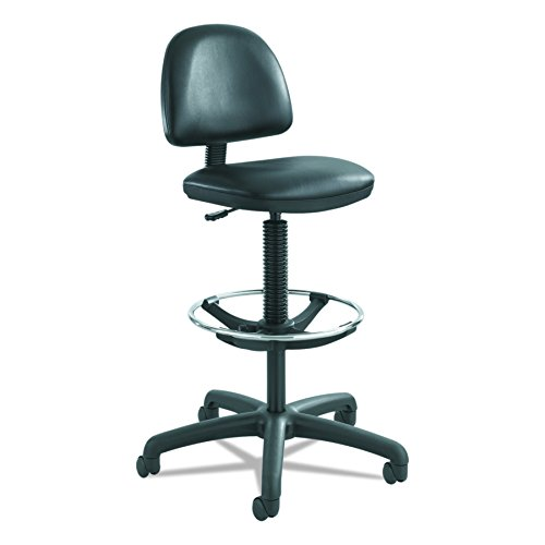 Safco Products Precision Extended Swivel Office Desk Computer Ergonomic Task Chair, Pneumatic Height Adjustable, Durable, Thick Padded Seat, Black Vinyl