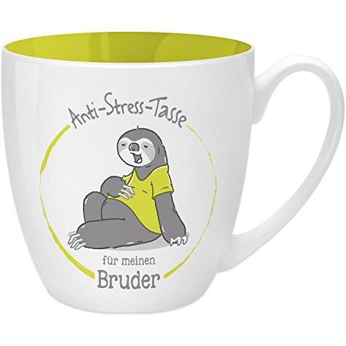 Gruss & Co 45508 Anti-Stress Tasse für den Bruder, 45 cl, Geschenk, New Bone China, Gelb, 9.5 cm