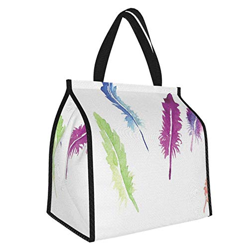 Y-shop Feather House Decor Creative Quote Made With Watercolors Splashes Tribal Motivational Design Multi Picnic Freezer Bag,Large Insulated Cooler Bag Picnic Camping Beach Tour Bbq 30l