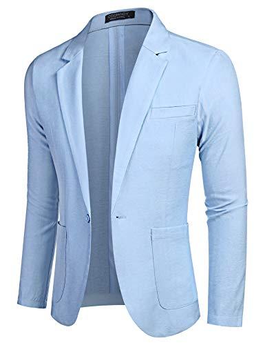 COOFANDY Men's Linen Blazer Jackets Lightweight Sports Coats One Button