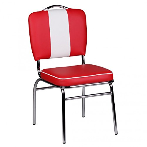 FineBuy Sedie Cucina Rosso/Bianco Moderne Stile Americano Sedia per Sala da Pranzo | Design Moderno Sedie Ecopelle Imbottita
