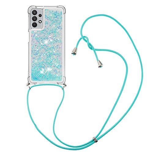 HülleLover Handykette Handyhülle für Samsung A32 5G, Glitzer Flüssig Bewegende Treibsand Transparent Silikon Hülle mit Kordel zum Umhängen Necklace Hülle Band für Samsung Galaxy A32 5G, Silber Blau