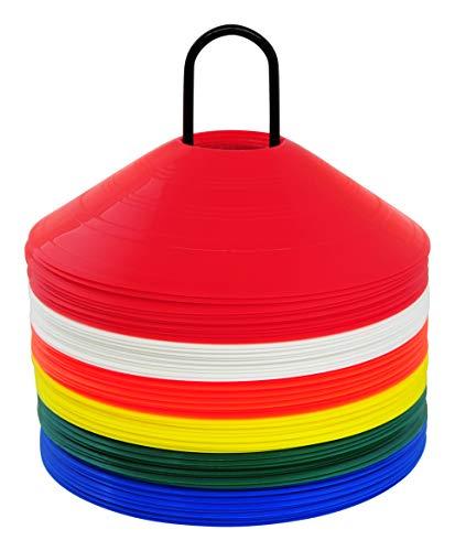 Bad Company Markierungshütchen I Fußball-Hütchen farblich Sortiert (je Farbe 10 Stück) im 60er Set inkl. Ständer/Ablage