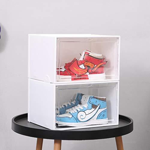 Miwaimao Schuhstaub-Aufbewahrungsbox, offene Seite der Kunststoff-Klappschale, für Studenten, magnetische Schuhwandverdickung, transparente Zusammensetzung, weiß, 36 x 28 x 22 cm