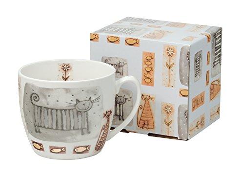 Jumbo-Tasse XXL Kaffee-Becher Kaffeetasse Porzellan Teetasse Geschenk-Tasse Trinkbecher Mug 750 ml von DUO in Geschenkbox (Katzen)