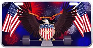 Cool Eagle American Flag License Plate with Lightweight-11.8