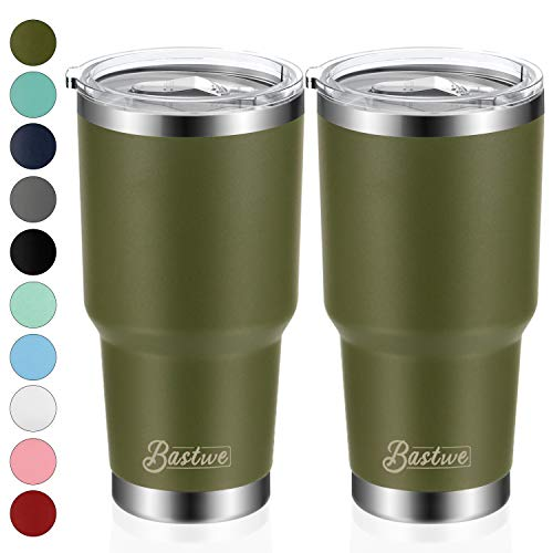 2 Pack 30oz Vacuum Insulated Tumblers, Bastwe Double Wall Stainless Steel Travel Mug with Lid and Straw for Home, Office, School, Works Great for Ice Drink, Hot Beverage (Olive Green)