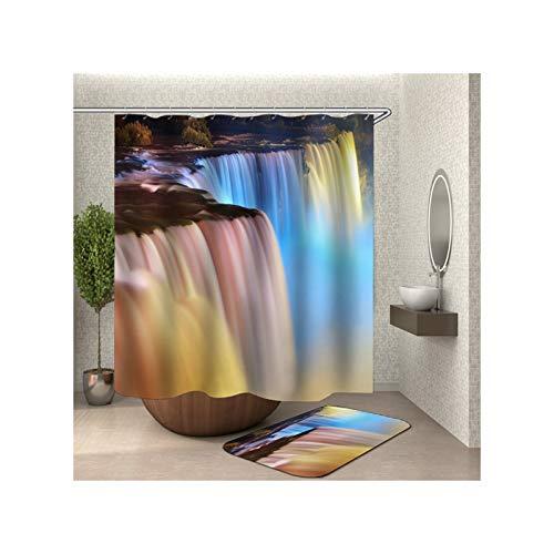 Amody Duschvorhang Polyester Gewebe Badmatte Wasserfall 120x180CM Duschvorhang Bunt Antischimmel 40x60CM Badematten rutschfest Waschbar