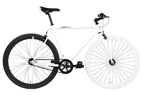 FabricBike- Vélo Fixie Noir, Fixed Gear, Single Speed, Cadre Hi-Ten Acier, 10Kg (M-53, White & Black)