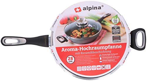 alpina Servierpfanne ø28cm mit Keramikbeschichtung - Deckel mit Aromaknopf - Antihaftbeschichtung - Hochrandpfanne - für alle Wärmequellen geeignet