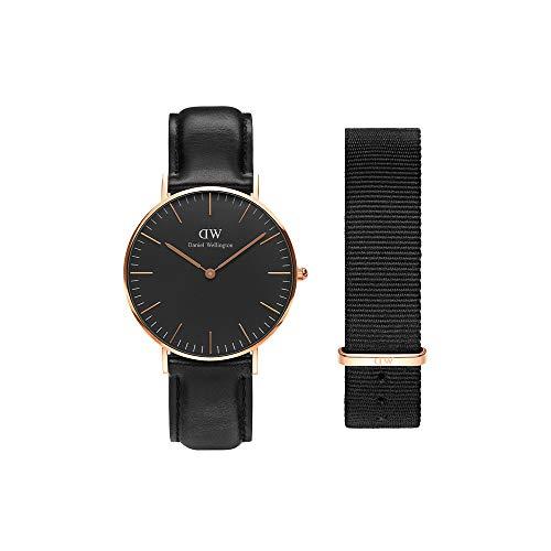 Daniel Wellington Geschenk-Set, Klassische Sheffield, 36 mm, rotgoldfarbene Uhr mit NATO-Armband von Cornwall