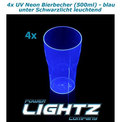 PowerLightz 4 UV Neon beker 500 ml in blauw, bier, longdrink, cocktail, cola, blacklight, glazen, meerweg, plastic